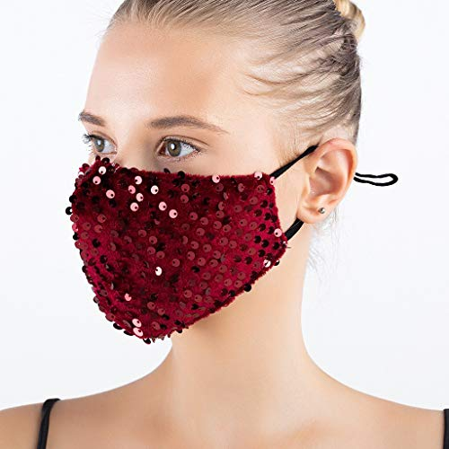ddfb 2PCS Women Face Covering Washable UK Velvet with Sequin Bling Sparkly Decorative Dustproof Reusable Fashion Adjustable Face Protection for Masquerade Wedding Special Occasion