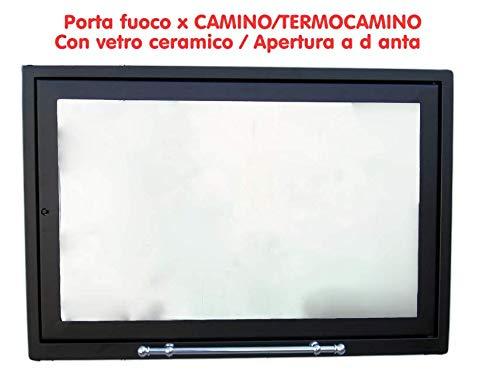 SPORTELLO CON VETRO CERAMICO 760° X CAMINO TERMOCAMINO STUFA A LEGNA PORTA FUOCO (L 79,0 x H 48,0)