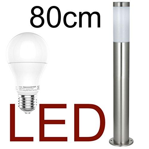 DBLV LED Stand-Außenleuchte 80cm mit & LED Leuchtmittel - Edelstahl Außenlampe Hoflampe Gartenlampe Gartenleuchte Balkon Rasen [Energieklasse A+]