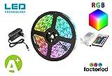 FactorLED Pack Tira LED Flexible RGB + Fuente de alimentación + Controladora - 5m 12V iluminación interior decorativa alta intensidad