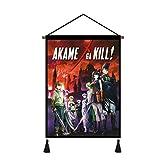 Akame Ga Kill Wall Art Hanging Poster, Nostalgic Comics - Wall Scroll Canvas Painting Bar Cafe Bedroom Home Decor with Scroll Teak Wood Hanger Ready to Hang 18 X 24 Inch (Akame Ga Kill)