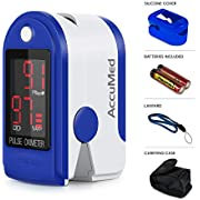 AccuMed CMS-50DL Pulse Oximeter Finger Pulse Blood Oxygen SpO2 Monitor w/ Carrying case, Landyard Silicon Case & Battery (Blue)