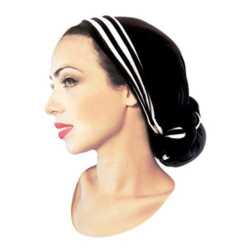 ShariRose Pre Tied Bandana Head Scarf Tichel Lightweight Long Cotton Stripe Wrap (Black w/stripe)