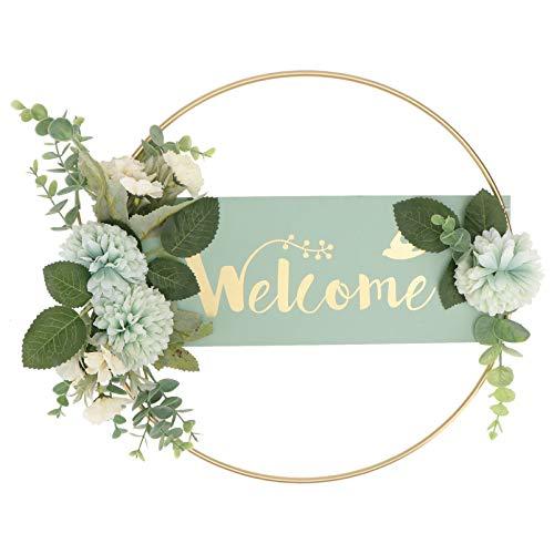 YARNOW Willkommen Schild Welcome Türschild Wandschild Künstliche Eukalyptus Kranz Blume Metallring Kranz Osterdeko Frühling Deko Garten Türhänger Türdeko Buchstaben Begrüßung Wanddeko
