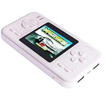 Portable Handheld Game Console and Power Bank Built in 218 Classic Retro Video Games 8000 mAh Fast Charging Dual USB External Battery Pack for Phone Pad Other Smart Devices  White