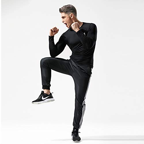 MEETYOO Men's Compression Shirt, Base Layer Top Long Sleeve T-Shirt Sports Gear Fitness Tights for Running Gym Workout