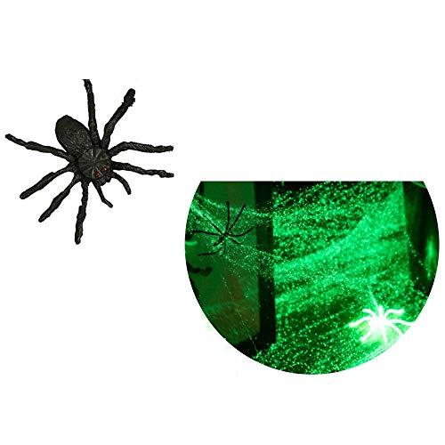 Leuchtendes Spinnennetz in Premium QUALITÄT │ 100 Gramm XXL Netz inkl. 25 Spinnen │ Glow IN The Dark │ Spinngewebe Deko Vorhang │ ideal geeignet für die Halloween Party für Kamin, Fenster, Türen usw.