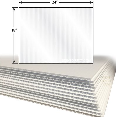 """24-Pack of 24""""x18"""" Ultra-Smooth Opaque Corrugated Plastic 4MM White Sign Blanks"""