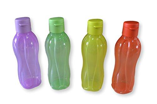 Tupperware Aquasafe Botella con tapa abatible, 500ml, juego de 4
