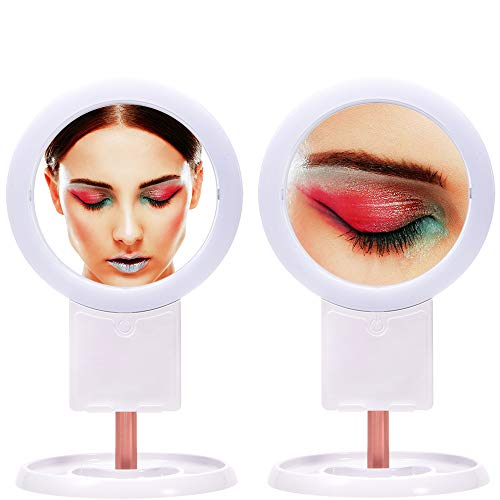 RAAYA Vanity Makeup Mirror with LED Lights 3 Color Lighting Modes Light Up Bathroom Mirror with 1X/10X Magnification Mirrors Rotatable Touch Travel Mirror