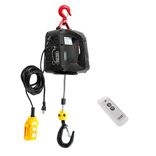 BEAMNOVA Portable Electric Hoist with Wireless Remote Control 3 in 1 Crane Winch 500kg / 1102lbs Capacity Hook Pulley Lifting Strap
