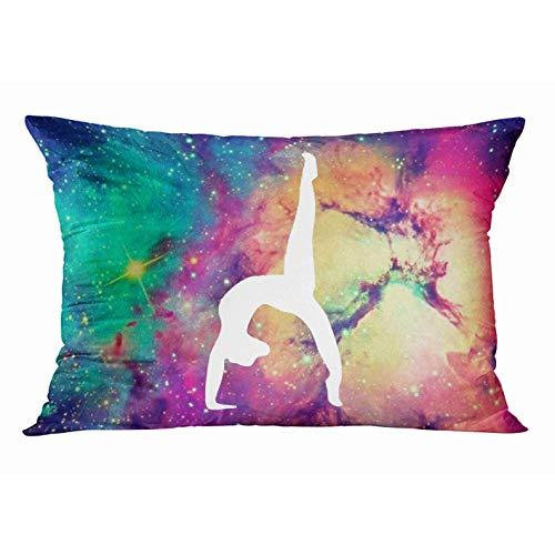 ASKSWF Funda de Almohada Decorativa Juego de Gimnasia fantástica Space Galaxy gimnástica Funda de Almohada Rectangular Fundas de Almohada Fundas para el hogar Funda de Almohada de Cama de 20x30 pulg