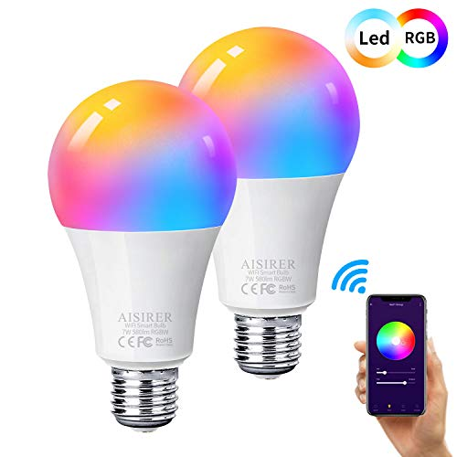 Ampoule Intelligente Wifi Led Smart Bulb E27, AISIRER Ampoule connectee alexa, Compatible Avec Alexa, Google Home, Commande De Téléphone, Lumière Blanche Chaude Sans Moyeu Nécessaire 2 Pack