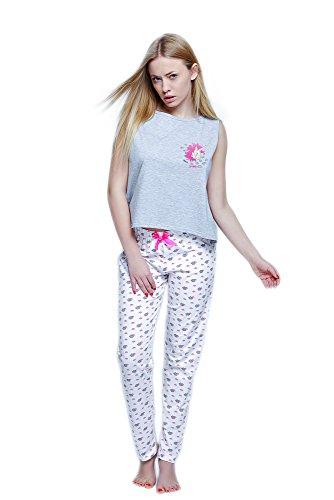 S& SENSIS edles Nachtwäsche-Set (Made in EU) aus trendigem Baumwoll-Shirt und koketten Shorts oder Langer Hose in angesagtem Design, Gr. 40, Hellgrau/Weiß mit Einhorn