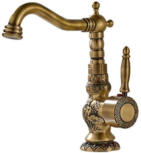 KANJJ-YU Grifo de lavabo de latón antiguo con boquilla de nariz larga tallada en forma de flor de 360 rotación, grifo mezclador monomando cromado
