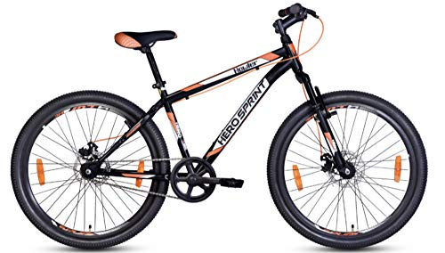 HERO CYCLES Unisex Adult's 18 Inches Frame , 27 Inches Wheel Sprint Howler 27T Single Speed Mountain Bikes Cycle, Black