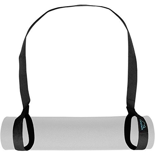 CampTeck U6820 Yogamatte Tragegurt Polyester 180 cm x 3,8 cm verstellbare haltbare Schulter Yoga Matten Schlaufe für Pilates-, Training-, Aerobic-, Outdoor- und Sportmatten - Schwarz