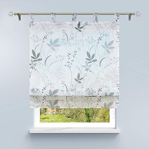 HongYa Raffrollo Voile Schlaufenrollo Transparente Raffgardine mit Schlaufen Küche Vorhang Kleinfenster H/B 140/140 cm Blatt Muster