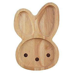 不二貿易 プレート キッズ 幅28cm ナチュラル うさぎ 天然木 割れにくい 軽量 木製 食器 ボヌール 23915