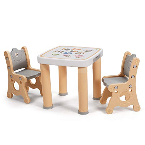 COSTWAY Children Table and Chair Set, 3-Piece Toddler Activity Desk and Chairs with Storage Drawer, Height Adjustable Kids Furniture for Drawing Reading Snack Time (Natural)