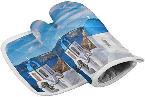 MODORSAN Blaue Kirche in Santorini,Griechenland Ofenhandschuhe Hitzebeständige heiße Pads mit rutschfesten Grillhandschuhen aus Polyester für Küche,Kochen,Backen,Grillen