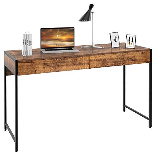 COSTWAY Schreibtisch Computertisch mit 2 Schubladen, Bürotisch PC Tisch Arbeitstisch Officetisch 112x48x76cm (Braun)