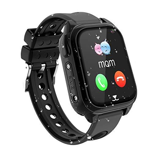 Impermeable GPS Smartwatch para Niños, IP67 Impermeable Reloj inteligente Phone con GPS LBS Tracker SOS Chat de voz Cámara Podómetro Juego Watch Niño niña Compatible con iOS Android (SS8-Black)