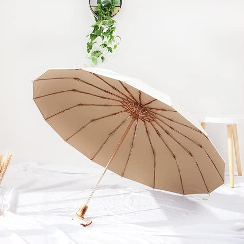 Protección UV a prueba de viento grande Abrir automática, para 2 personas a prueba de tormenta, mango de madera clásico ligero impermeable impermeable fuerte fuerte 16 costillas viajes(rice white)