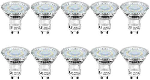 LE GU10 LED Lampe kaltweiß, 4W 350 Lumen LED Leuchtmittel, 5000 Kelvin Tageslichtweiß Glühbirne, ersetzt 50W Halogenlampen, 120 Grad Abstrahlwinkel Reflektorlampe, 10 Stück