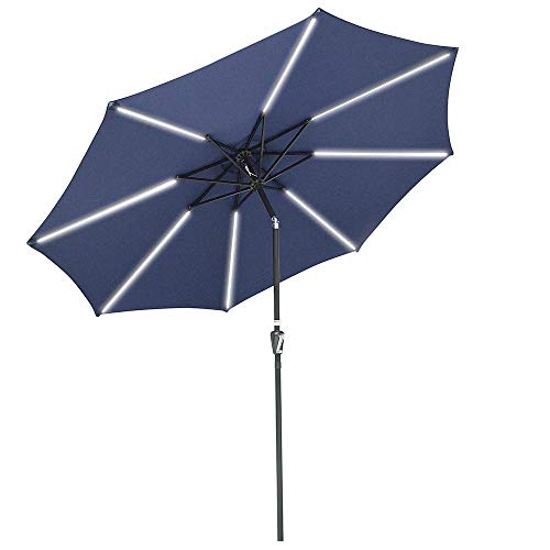 Yescom 10ft Solar LED Lighted Patio Umbrella with Tilt and Crank 8 Ribs Outdoor Market Umbrella for Table Garden Navy