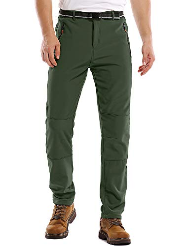 Fulture Direct Mens Fleece Lined Waterproof Pants Insulated Softshell Hiking Pants Mens Outdoor Winter Snowboard Ski Pants, Army Green 29