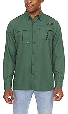 Swiss Alps Mens Long Sleeve Lightweight Breathable Outdoor Fishing Shirt Olive Medium