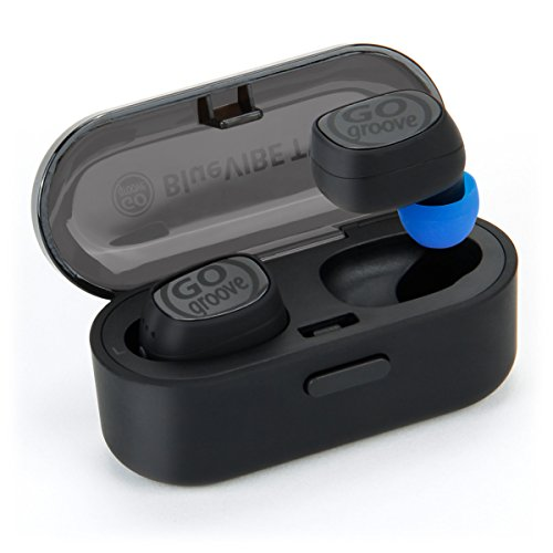 GOgroove TWS Mini Earbuds Wireless Bluetooth in-Ear Headphones with Mic, Sweat Proof with Workout IPX5 Water Protection, HD Microphone, Easy Phone Pairing, and 12 Hour Battery Charging Travel Case