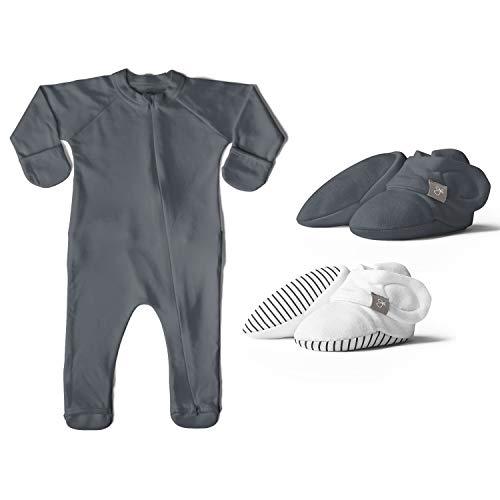goumikids 0-3M Footie Pajamas Organic Sock Sleeper Clothes (Midnight) Bundle with Stay On Organic Infant Boot Booties, 2 Pairs (Midnight/Stripe) Gray
