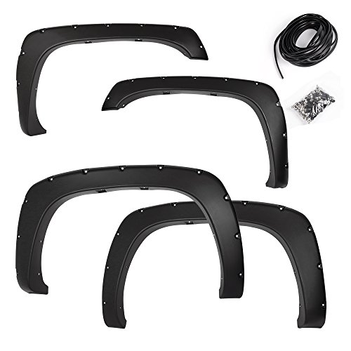 Premium Fender Flares for Chevy Silverado/GMC Sierra 1999-2006 (1500/2500/3500HD models only) | Smooth Black Paintable Pocket Bolt On Style Wheel Fenders Flare Truck Accessories 4pcs Set 2000 01 02