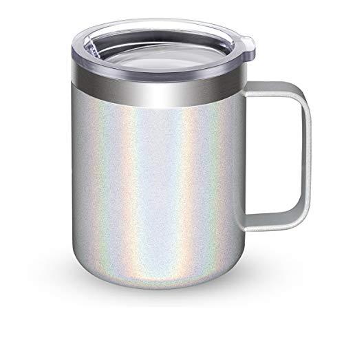 Civago Taza de café de acero inoxidable con asa, 12 oz doble pared aislado al vacío taza con tapa apta para viajes (blanco brillante, 1 paquete)