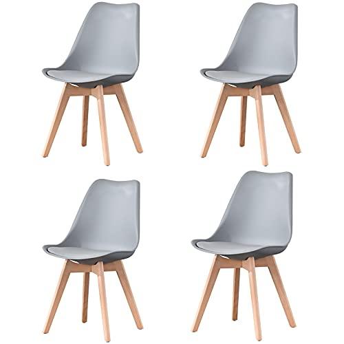 4er-Set,Esszimmerstuhl ABS PP mit Buchenholzbeinen für Esszimmer, Wohnzimmer, Büro, Schlafzimmer, Grau,Grau