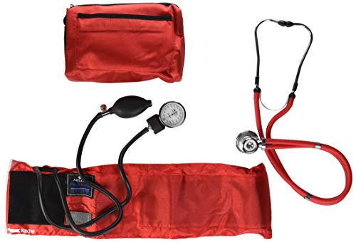 MABIS MatchMates Aneroid Sphygmomanometer and Sprague Rappaport Stethoscope Combination Manual Blood Pressure Kit with Calibrated Nylon Cuff, Professional Quality, Carrying Case, Red -  01-360-081