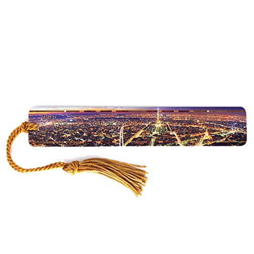Paris France Skyline - Color Wooden Bookmark with Tassel - Also Available Personalized