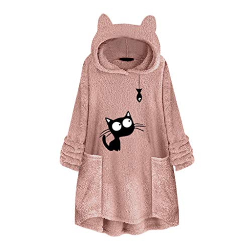 TUDUZ Katzenohren Kapuzepullover Damen Plüsch Große Größe Sweatshirt Drucken Pullover Langarm Tunika Hoodie Tops Bluse Oberteile mit Taschen(B-Rosa,XX-Large)