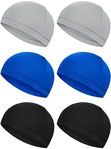 Boao 6 Pieces Helmet Liner Skull Caps Sweat Wicking Cap Running Hats Cycling Skull Caps for Men and Women