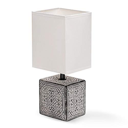 Aigostar 197070 - Lámpara de cerámica de mesa, cuerpo cuadrado con grabado, pantalla de tela cuadrada color blanco, casquillo E14. Perfecta para el salón, dormitorio o recibidor.