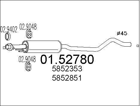 MTS Company 01.52780 Mittelschalldämpfer