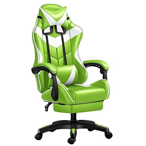 LiKin Silla Gaming Ergonómico, Reclinable Silla Computadora Sillas de Escritorio Ángulo De Inclinación Y Altura Ajustable (Color : Green-White)