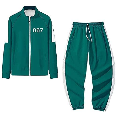 Juego de calamar Disfraces de Halloween Hombre Adulto Mujeres Mono Chndales Sudaderas Pantalones Dos Piezas Conjunto Azul 067