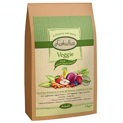 Lukullus Veggie Natürliches kalt gepresst und glutenfrei Komplettes ausgewachsenes Trockenfutter für Hunde mit Ernährungsempfindlichkeit 5 kg