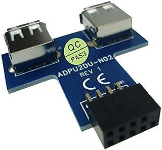 JIUWU 9 Pin USB 2.0 Female Pin Header to Dual USB2.0 Port Adapter-T Type