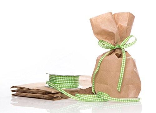 Lot de 10 petits sacs en papier kraft marron avec fond - 14 x 5,6 x 22 cm - Avec ruban à carreaux vert clair et blanc - 20 m - Pour petits cadeaux, cadeaux promotionnels