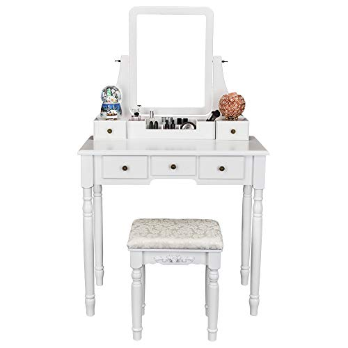 FCH Vanity Set with Oblong Mirror & Cushioned Stool, Wood Dressing Table Vanity Makeup Table 5 Drawers 2 Dividers for Girls Women Bedroom, White