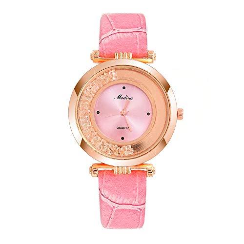 SoonerQuicker Uhr Armbanduhr Damen Quartzuhr Frauen Uhren Klassisch Mode Elegant Damenuhr Armbanduhren Analoge Quarz Lederband Wasserdicht Billig Geschäft Geschenke 66
